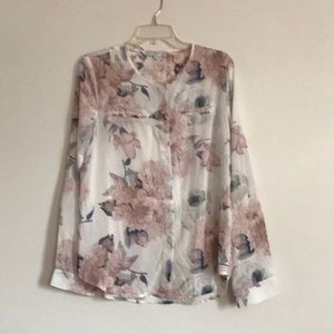 Long sleeves button down blouse size L